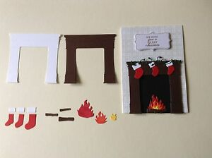 6 x memory box  Fireplace, fire, logs and stocking die cuts Ideal for Christmas