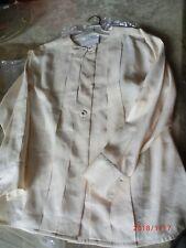 "Vtg Auth CHANEL Cream Silk Long Sleeve Blouse Shirt Gold Buttons SZ""34"