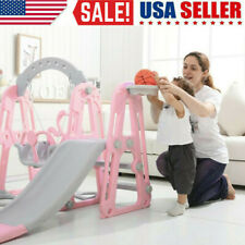 3 IN 1 Fun Swing Set Kids Playground Slide Outdoor Backyard Space Saver Play US