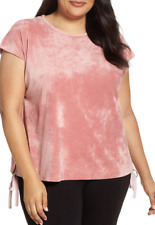 Vince Camuto Side Tie Velour Top Dusty Blush 1X NWT $69