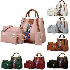 4PCS Elegant Lady Women Leather Handbag Shoulder Hobo Bag Satchel Purse Tote Set