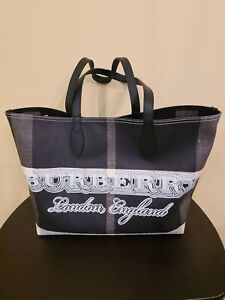NWT Authentic Burberry Doodle Reversible Black Coated Canvas Leather Tote