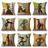 "Cartoon Fashion African Woman Lady Cushion Covers Linen Throw Pillow Case 18"""