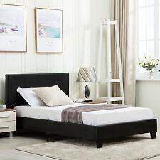 Twin Size Platform Bed Frame Faux Upholstered Headboard Bedroom Furniture