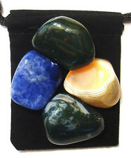 LYMPHATIC SYSTEM Tumbled Crystal Healing Set = 4 Stones + Pouch + Card