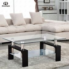 Modern Glass Coffee Table Rectangular w/ Shelf Black Leg Living Room Furniture