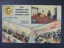 Kansas City Missouri MO Business Women's Club Vintage Linen Postcard 1954