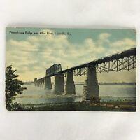 Antique Pennsylvania Bridge Over Ohio River LOUISVILLE KENTUCKY Postcard 1912