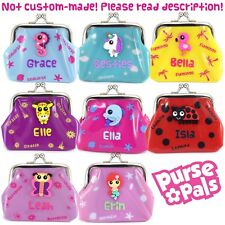 Girls Personalised Name Kids Animal Character Small Clasp Plastic PVC Coin Purse