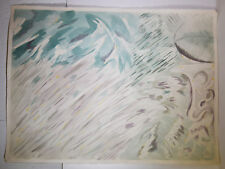 """30"""" Vintage Abstract Watercolor Painting Paper Green Gray Storm Art Decor"""