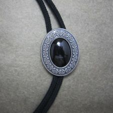 Silver Plated Vintage Black Agate Stone Western Cowboy Rodeo Bolo Tie