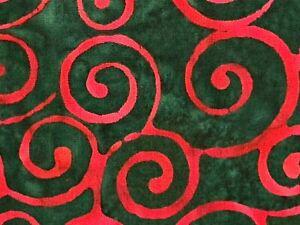 """Red Swirl Green Batik Fabric Tye Dye 100% Cotton Quilting Fabric 21 1/2"""" x 6 1/4"""