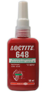 Loctite 648 Retaining Compound 50ML high strength. High temperature resistance.