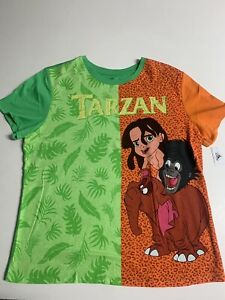 Rare Vintage 1990s Kids Disney Tarzan Tshirt Large Graphic Alligator Movie Cartoon Size 6 Made in USA