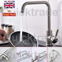 Kitchen Sink Mono Mixer Tap Brushed Steel Bath Basin Faucet Spout Swivel Taps UK
