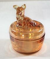 Vintage Opalescent Scottie Dog Vanity Dresser Powder Trinket Jar Box
