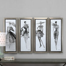 "FOUR NEW LARGE 40"" RICH FASHION PRINTS MODERN FRAMES SKETCH STYLE UNDER GLASS"