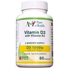 Salud pura A a Z, la vitamina D 1000iu con 60 cápsulas de vitamina K2 45μg,