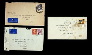 NORTHERN RHODESIA/ GB SET OF 3 COVERS W/ 4v KGVI, 2 AIRMAIL 1 CENSORED TO SWEDEN