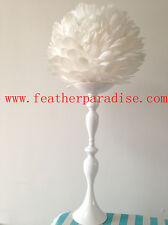 Wedding Flower Ball Feather Ball Floral Stand/Candle Holder -White - 15 inches