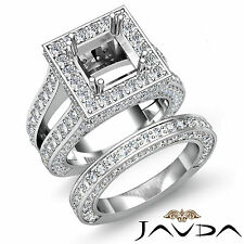 Vintage Diamond Engagement Ring Princess Semi Mount Bridal Set Platinum 4.75 ct.