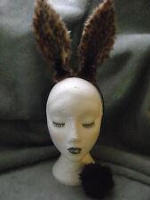 Cheetah Print Rabbit Hare Ears & Clip On Faux Fur Tail Fancy Dress Hen Night New