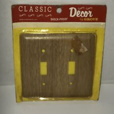 Vintage 60s GROVE Wood Grain Metal USA Double Light Switch Cover Wallplate NOS