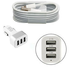 In Car Tri Super Fast Charger + USB Cable for Apple iPhone 7 6/6S Plus 5/5S/5C
