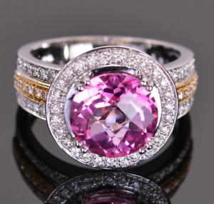 Features A 4.81CT Pretty Pink Topaz With Shiny CZ Halo Engagement Wedding Ring