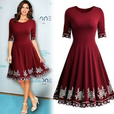 New Women's Vintage 1940s Short Sleeve Cocktail Evening Prom Party Casual Dress
