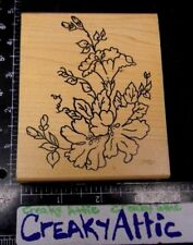 ROSE FLOWER OUTLINE BUDS RUBBER STAMP ME AND CARRIE LOU