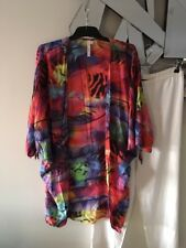 SEAFOLLY Blue Pink Lime Green Black Short Sleeve Beach Swim Cape Wrap M 14 12