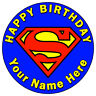 "SUPERMAN CLASSIC LOGO - 7.5"" PERSONALISED ROUND EDIBLE ICING CAKE TOPPER"