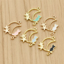 Enamel Cartoon Moon Cat Alloy Charms Pendants for DIY Jewelry Decor Making