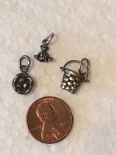 Vintage Tiny Pendants Bird Nest-Basket-Teddy Bear 925 Sterling Silver Lot-of-3