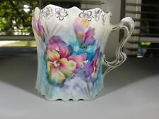 RS Prussia Hand Painted Multi colored Violets Mug Fancy Handled Cup