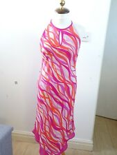 Jazzy pink silk tea dress PLANET SILK bright floaty layered sun bohemian size 8