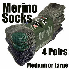 4 Pairs Merino Wool Socks Medium / Large  Men Women Ideal Hiking / Work Boots