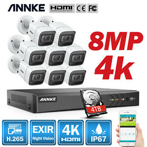 ANNKE 4K Ultra HD 8CH H265 DVR 5MP 8MP CCTV Home Security Camera System Outdoor