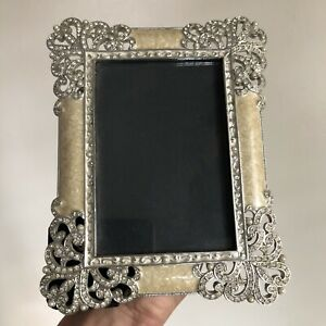 "BEAUTIFUL Olivia Riegel Bejeweled Enameled Metal Photo Picture Frame 3.5"" x 5"""