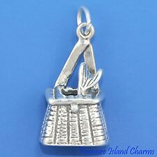 WICKER FISHING BASKET CREEL with FISH 3D .925 Sterling Silver Charm Pendant