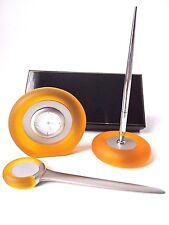 Classy Office Desk Top Gift Set-Amber-Clock-Letter Opener-Pen & Pen Stand-Boxed
