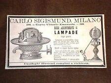 Pubblicità d'Epoca per collezionisti Lampade Negozio Carlo Sigismund Milano