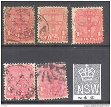 NEW SOUTH WALES, 1897 1d (various shades and perfs) VFU (wmk SG40) (D)