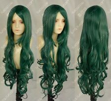 New Cos dark green long curly cosplay WIG Free shipping #431