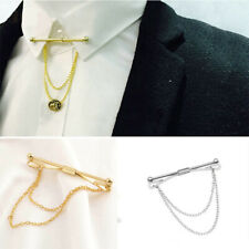 Mens Silver Gold Necktie Tie Clip Bar Clasp Cravat Pin Skinny Collar Brooch US