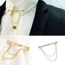 Mens Silver Gold Necktie Tie Clip Bar Clasp Cravat Pin Skinny Collar Brooch US