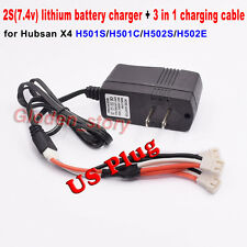 US plug Balance Charger Adapter + Charging Cable for Hubsan X4 H501S H502S H502E