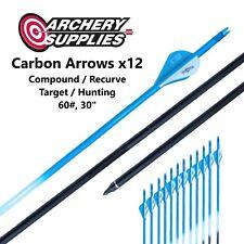 "Carbon Arrows x12 - 60#, 30"" - Compound / Recurve, Target / Hunting Archery"