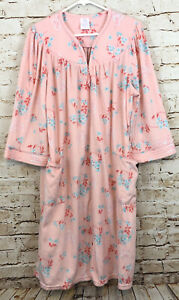 Secret Treasures women large housecoat fleece robe zip new pink floral duster A8